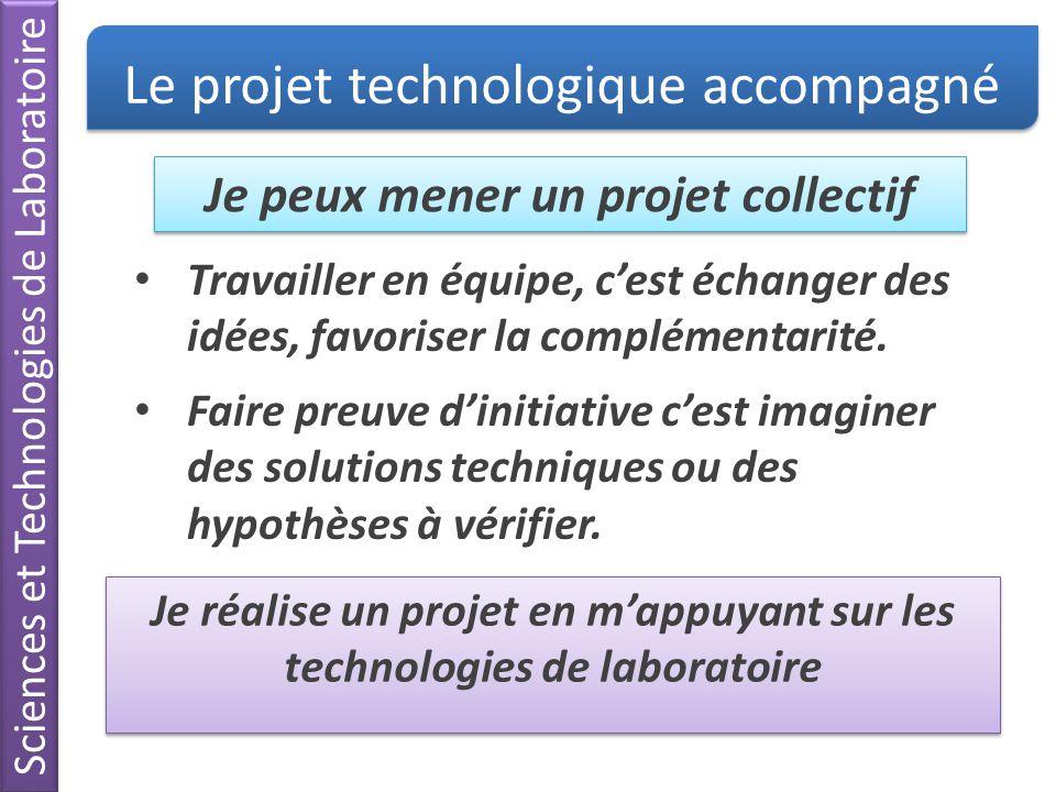 Sciences et Technologies de Laboratoire Je peux mener un projet collectif Le projet technologique accompagné Travailler en équipe, cest échanger des i