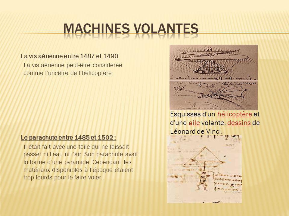 La vis aérienne entre 1487 et 1490 : La vis aérienne peut-être considérée comme lancêtre de lhélicoptère. Le parachute entre 1485 et 1502 : Il était f