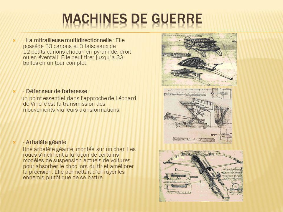 - La mitrailleuse multidirectionnelle : Elle possède 33 canons et 3 faisceaux de 12 petits canons chacun en pyramide, droit ou en éventail. Elle peut