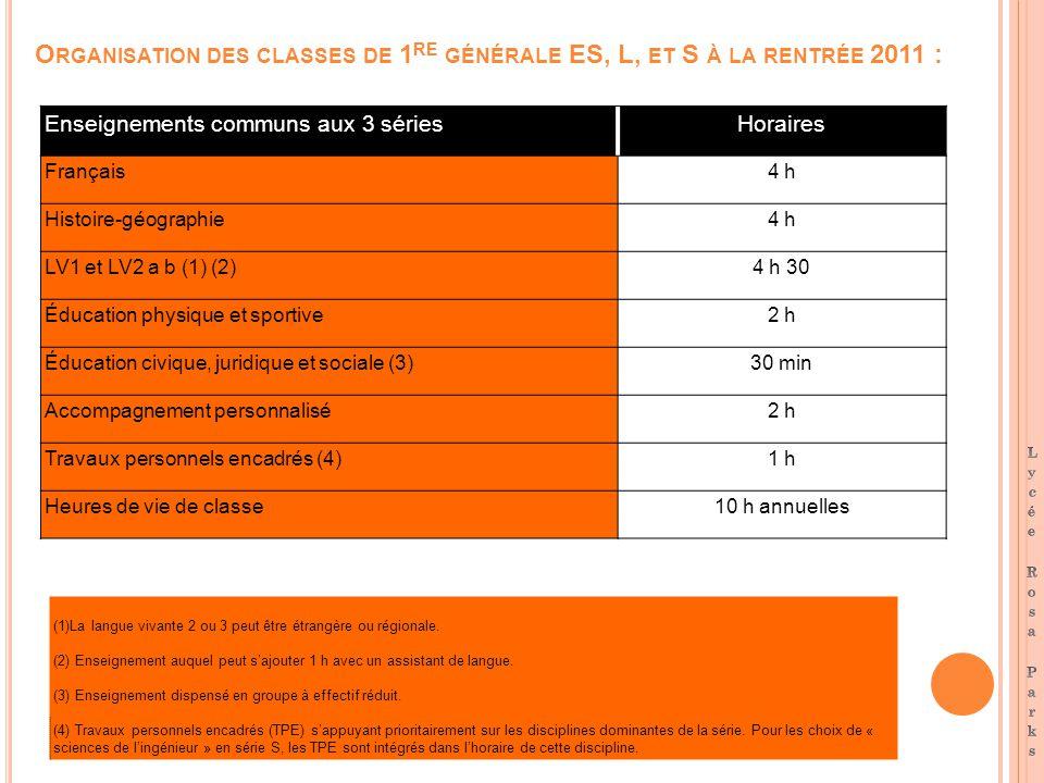O RGANISATION DES CLASSES DE 1 RE GÉNÉRALE ES, L, ET S À LA RENTRÉE 2011 : Enseignements communs aux 3 sériesHoraires Français4 h Histoire-géographie4