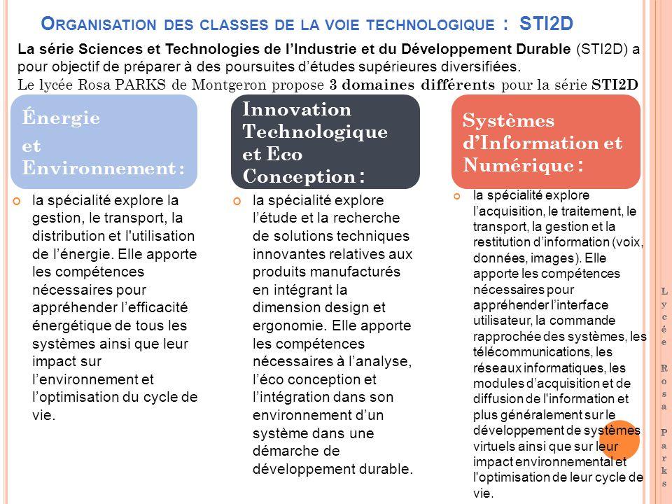 O RGANISATION DES CLASSES DE LA VOIE TECHNOLOGIQUE : STI2D la spécialité explore la gestion, le transport, la distribution et l utilisation de lénergie.