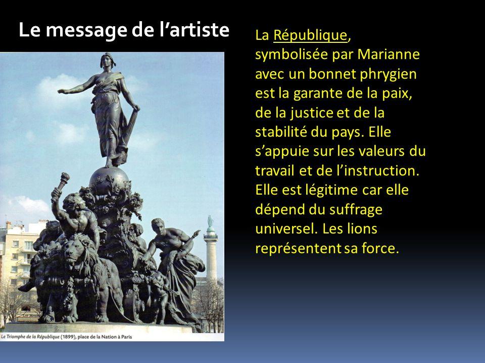 La République, symbolisée par Marianne avec un bonnet phrygien est la garante de la paix, de la justice et de la stabilité du pays.