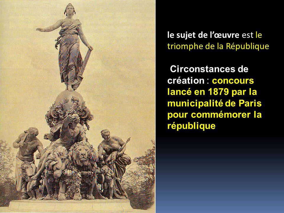 le sujet de lœuvre est le triomphe de la République Circonstances de création : concours lancé en 1879 par la municipalité de Paris pour commémorer la république