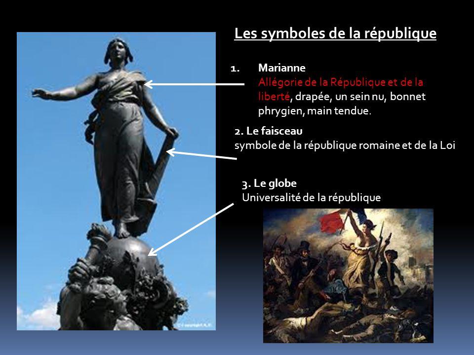 1.Marianne Allégorie de la République et de la liberté, drapée, un sein nu, bonnet phrygien, main tendue.