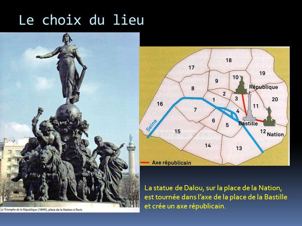 Le choix du lieu La statue de Dalou, sur la place de la Nation, est tournée dans laxe de la place de la Bastille et crée un axe républicain.