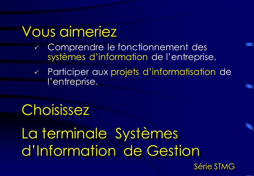 Comprendre le fonctionnement des systèmes dinformation de lentreprise, Vous aimeriez Choisissez La terminale Systèmes dInformation de Gestion Série ST