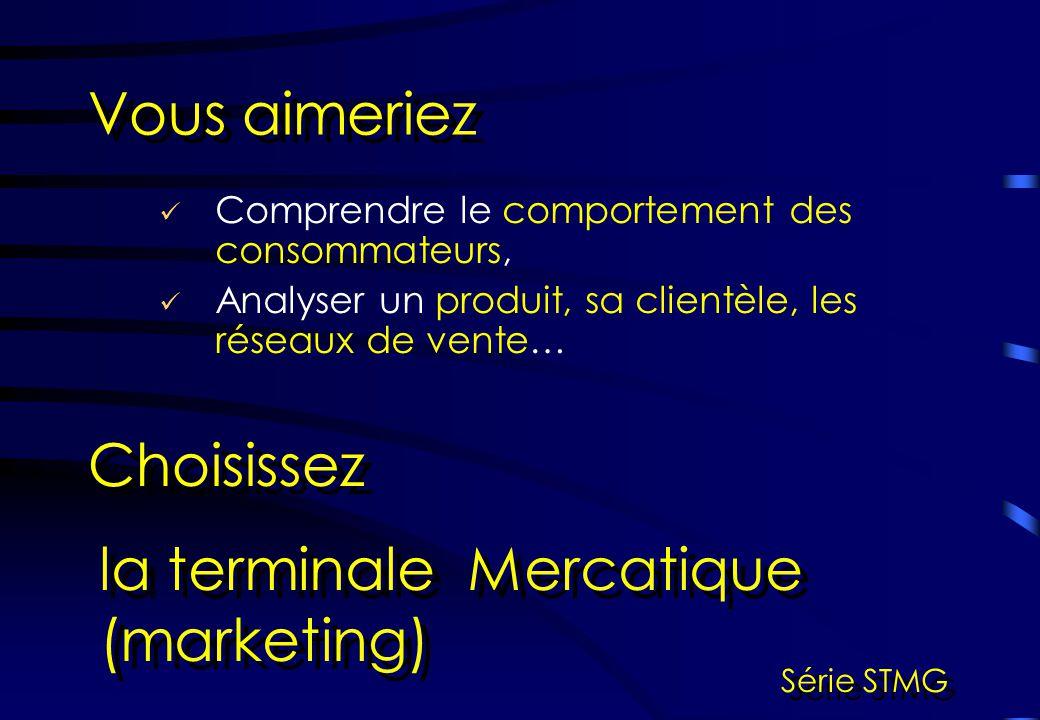 Comprendre le comportement des consommateurs, Analyser un produit, sa clientèle, les réseaux de vente… Vous aimeriez Choisissez la terminale Mercatiqu