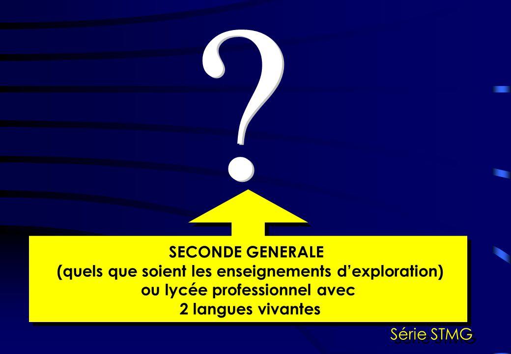 SECONDE GENERALE (quels que soient les enseignements dexploration) ou lycée professionnel avec 2 langues vivantes SECONDE GENERALE (quels que soient l
