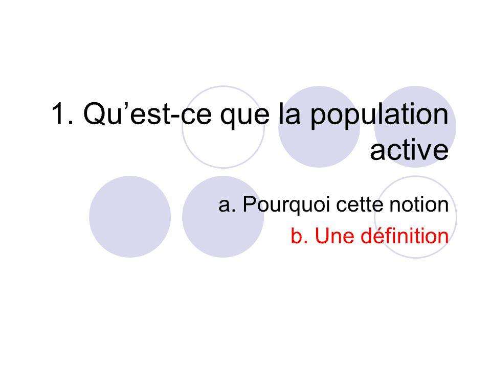 1. Quest-ce que la population active a. Pourquoi cette notion b. Une définition