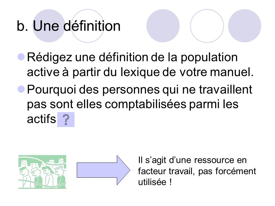 Rédigez une définition de la population active à partir du lexique de votre manuel.
