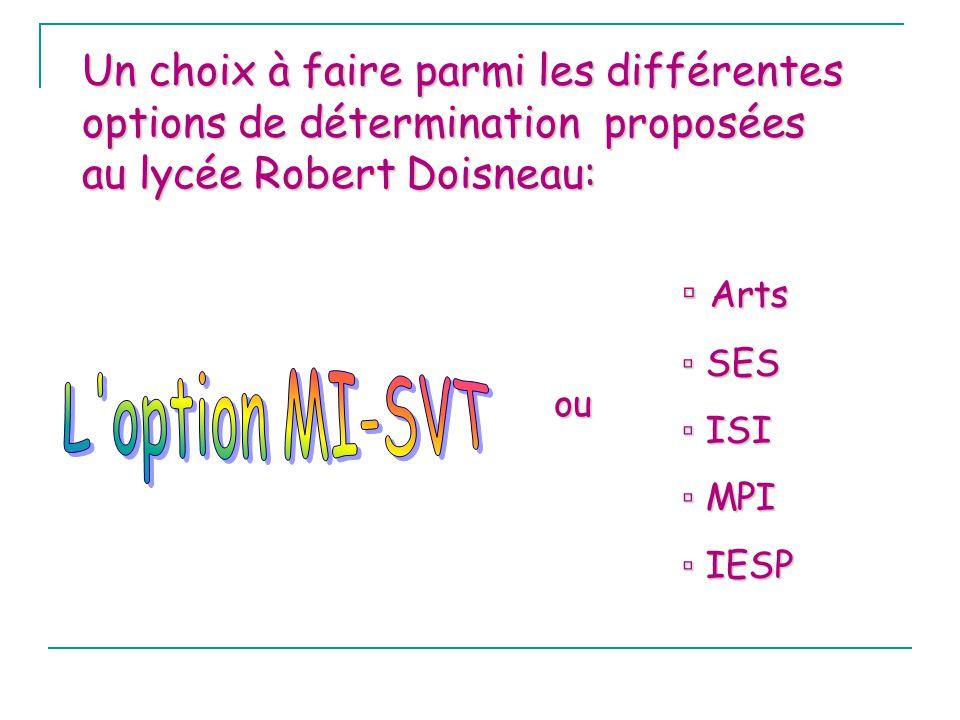 Un choix à faire parmi les différentes options de détermination proposées au lycée Robert Doisneau: Arts Arts SES SES ISI ISI MPI MPI IESP IESP ou