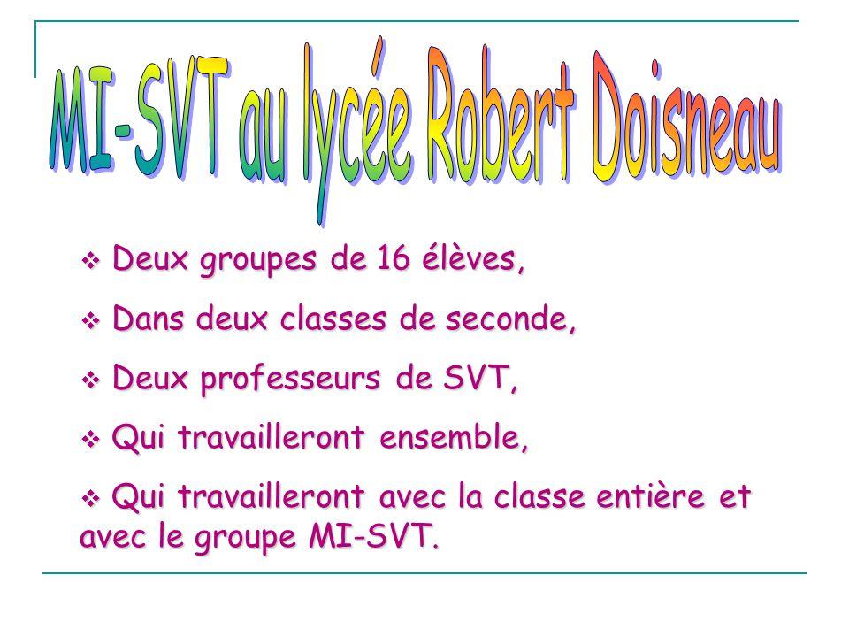 Deux groupes de 16 élèves, Deux groupes de 16 élèves, Dans deux classes de seconde, Dans deux classes de seconde, Deux professeurs de SVT, Deux profes