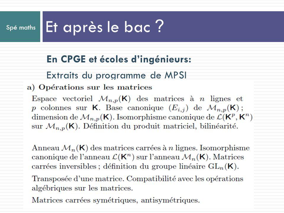 Spé maths En CPGE et écoles dingénieurs: Extraits du programme de MPSI Et après le bac ?
