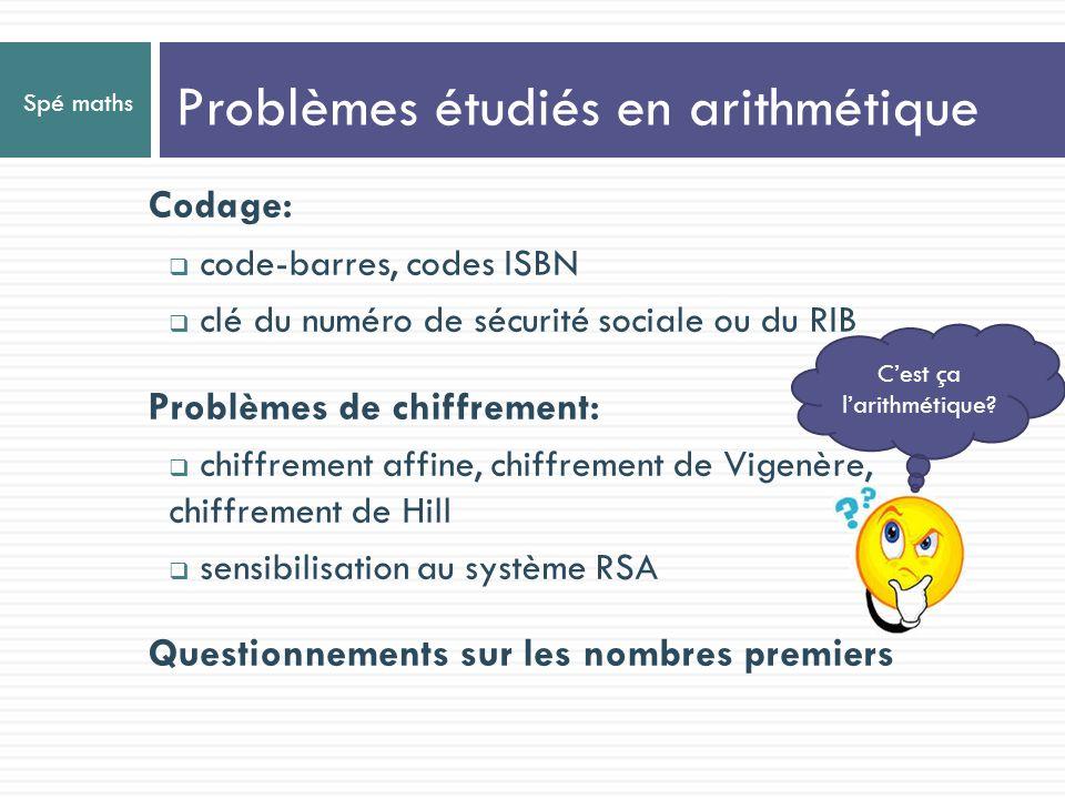 Spé maths Problèmes étudiés en arithmétique Cest ça larithmétique? Codage: code-barres, codes ISBN clé du numéro de sécurité sociale ou du RIB Problèm