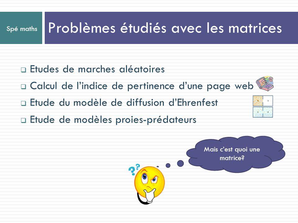 Spé maths Introduction des matrices Les matrices sont des tableaux de nombres: Opérations sur les matrices Résolution de systèmes Application à létude des suites et des probabilités Cool, on va pouvoir retravailler des notions vues en partie obligatoire.