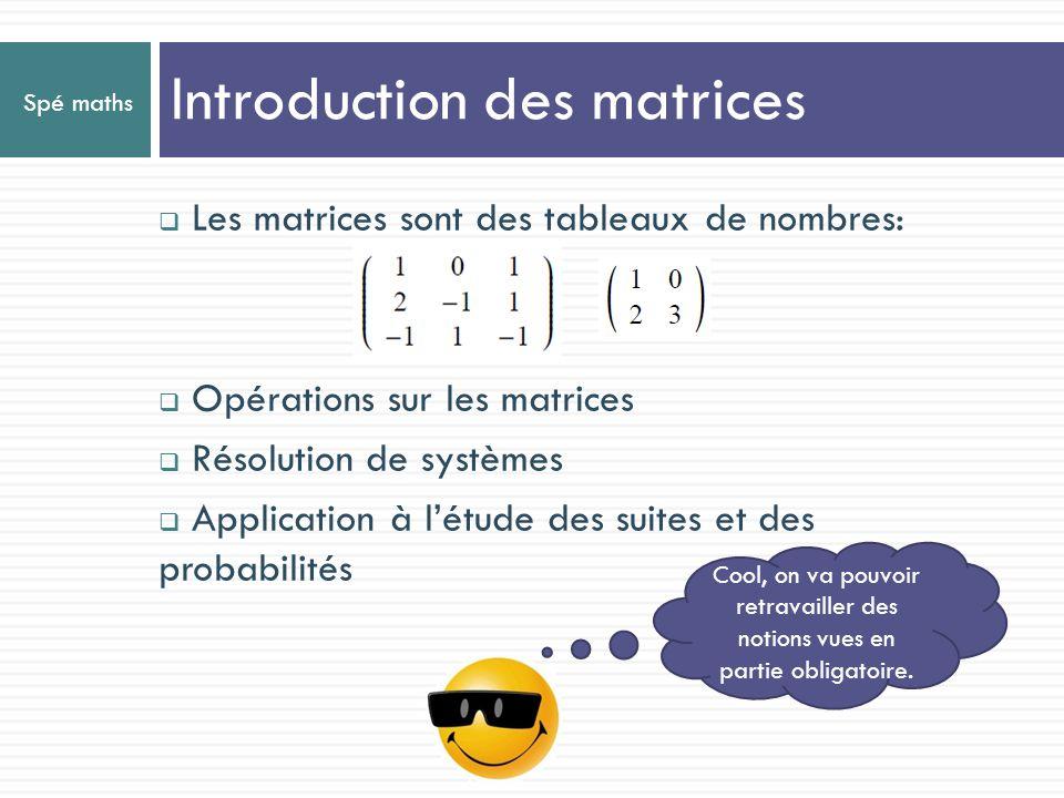 Spé maths Introduction des matrices Les matrices sont des tableaux de nombres: Opérations sur les matrices Résolution de systèmes Application à létude