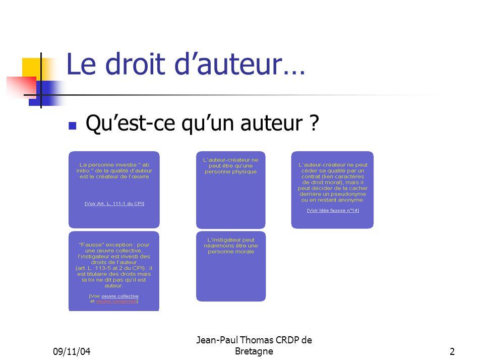 09/11/04 Jean-Paul Thomas CRDP de Bretagne 2 Le droit dauteur… Quest-ce quun auteur ?