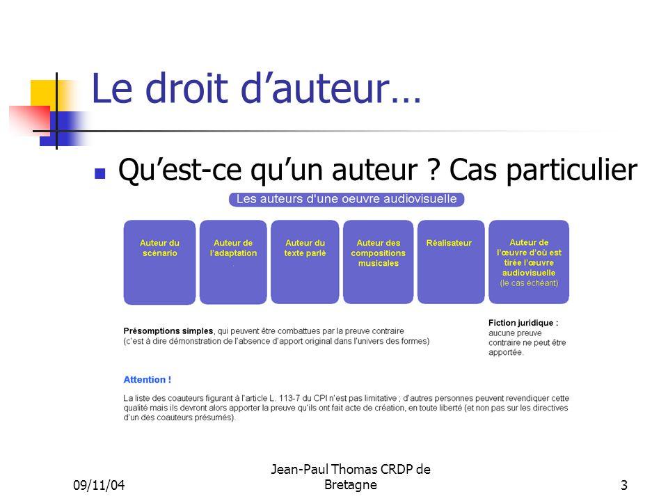 09/11/04 Jean-Paul Thomas CRDP de Bretagne 3 Le droit dauteur… Quest-ce quun auteur ? Cas particulier