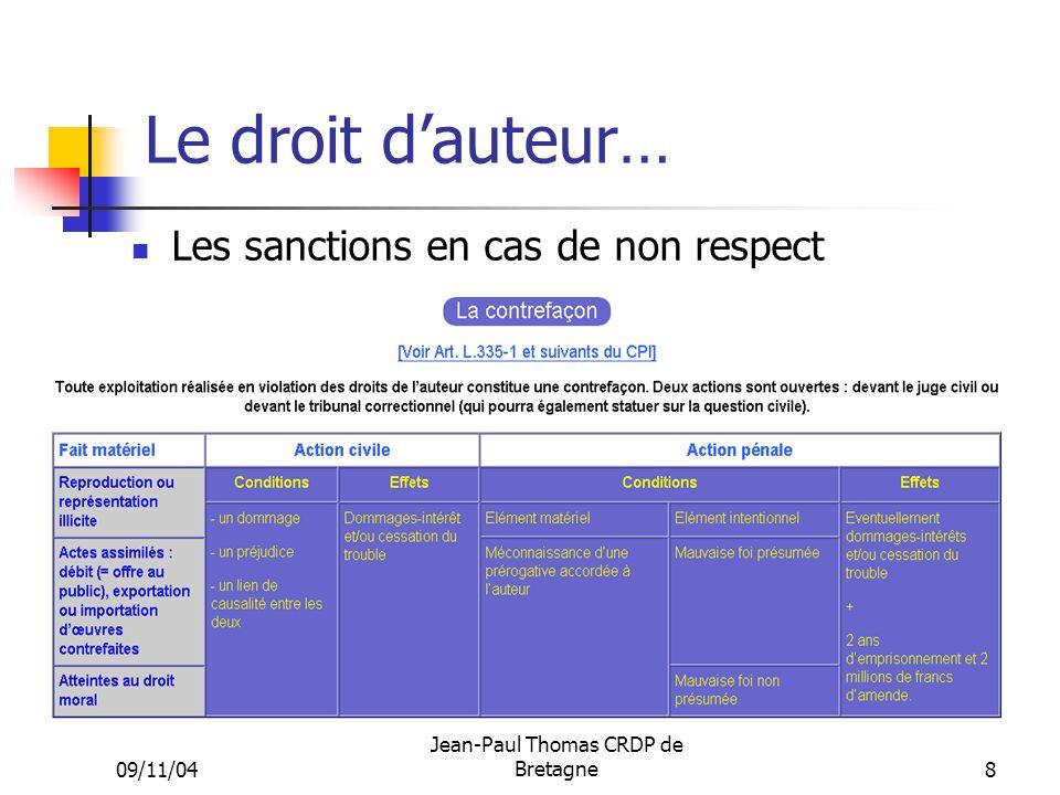 09/11/04 Jean-Paul Thomas CRDP de Bretagne 8 Le droit dauteur… Les sanctions en cas de non respect