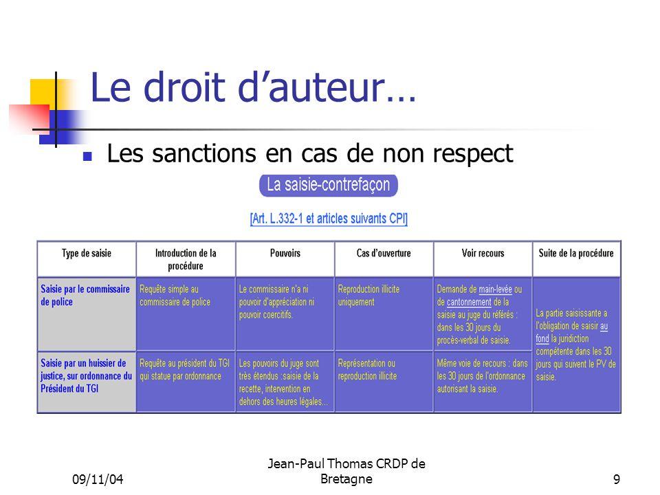 09/11/04 Jean-Paul Thomas CRDP de Bretagne 9 Le droit dauteur… Les sanctions en cas de non respect