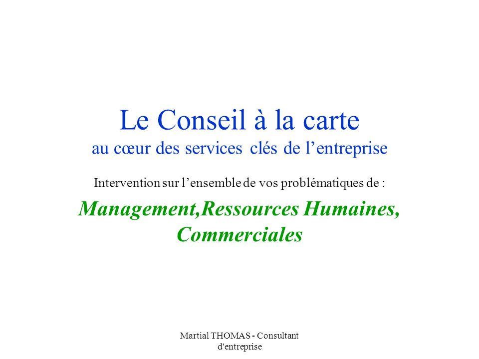 Martial THOMAS - Consultant d'entreprise Le Conseil à la carte au cœur des services clés de lentreprise Intervention sur lensemble de vos problématiqu