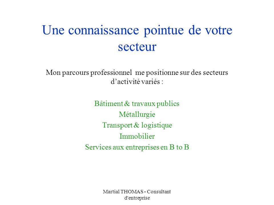 Martial THOMAS - Consultant d'entreprise Une connaissance pointue de votre secteur Mon parcours professionnel me positionne sur des secteurs dactivité
