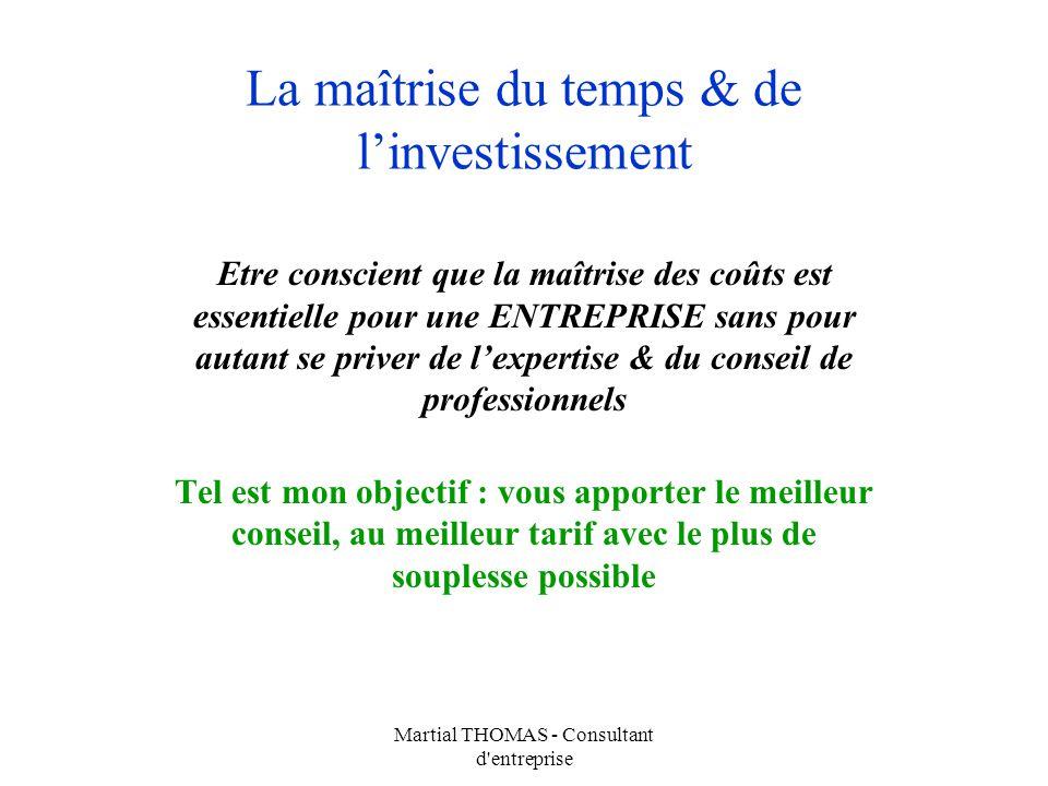Martial THOMAS - Consultant d'entreprise La maîtrise du temps & de linvestissement Etre conscient que la maîtrise des coûts est essentielle pour une E