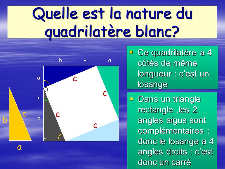Dans un triangle rectangle,les 2 angles aigus sont complémentaires : donc le losange a 4 angles droits : cest donc un carré Dans un triangle rectangle