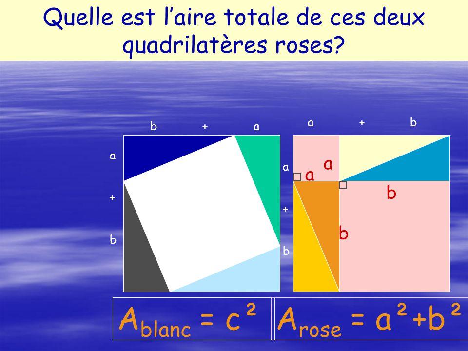 Quelle est la nature de chacun des quadrilatères roses? A blanc = c² Quelle est laire totale de ces deux quadrilatères roses? A rose = a²+b² a b a b a