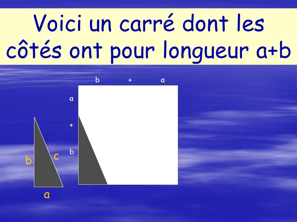 a b c Voici un carré dont les côtés ont pour longueur a+b a+ba+b b + a