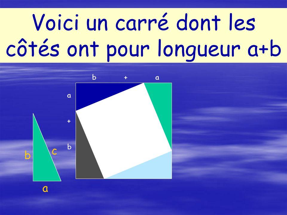 Dans un triangle rectangle,les 2 angles aigus sont complémentaires : donc le losange a 4 angles droits : cest donc un carré Dans un triangle rectangle,les 2 angles aigus sont complémentaires : donc le losange a 4 angles droits : cest donc un carré Ce quadrilatère a 4 côtés de même longueur : cest un losange Ce quadrilatère a 4 côtés de même longueur : cest un losange Quelle est la nature du quadrilatère blanc.
