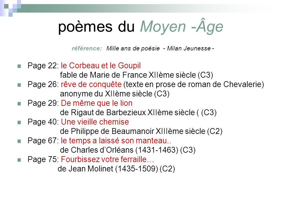 poèmes du Moyen -Âge référence: Mille ans de poésie - Milan Jeunesse - Page 22: le Corbeau et le Goupil fable de Marie de France XIIème siècle (C3) Pa