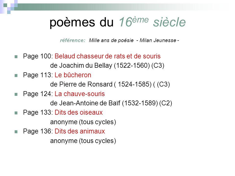 poèmes du 16 ème siècle référence: Mille ans de poésie - Milan Jeunesse - Page 100: Belaud chasseur de rats et de souris de Joachim du Bellay (1522-1560) (C3) Page 113: Le bûcheron de Pierre de Ronsard ( 1524-1585) ( (C3) Page 124: La chauve-souris de Jean-Antoine de Baïf (1532-1589) (C2) Page 133: Dits des oiseaux anonyme (tous cycles) Page 136: Dits des animaux anonyme (tous cycles)