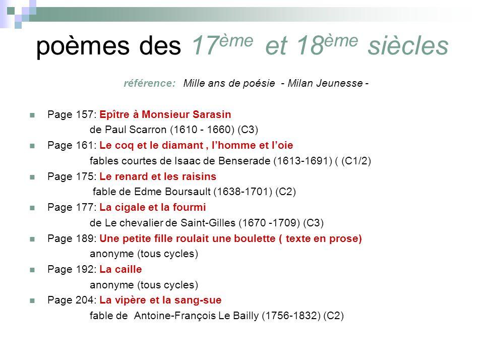 poèmes des 17 ème et 18 ème siècles référence: Mille ans de poésie - Milan Jeunesse - Page 157: Epître à Monsieur Sarasin de Paul Scarron (1610 - 1660) (C3) Page 161: Le coq et le diamant, lhomme et loie fables courtes de Isaac de Benserade (1613-1691) ( (C1/2) Page 175: Le renard et les raisins fable de Edme Boursault (1638-1701) (C2) Page 177: La cigale et la fourmi de Le chevalier de Saint-Gilles (1670 -1709) (C3) Page 189: Une petite fille roulait une boulette ( texte en prose) anonyme (tous cycles) Page 192: La caille anonyme (tous cycles) Page 204: La vipère et la sang-sue fable de Antoine-François Le Bailly (1756-1832) (C2)