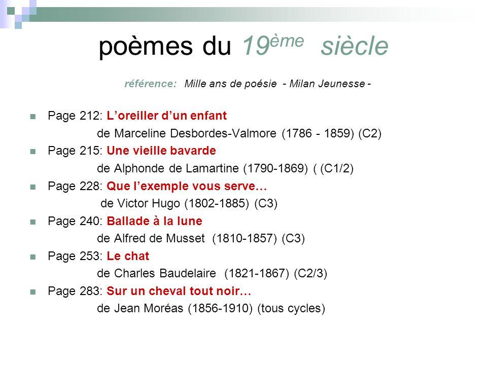 poèmes du 19 ème siècle référence: Mille ans de poésie - Milan Jeunesse - Page 212: Loreiller dun enfant de Marceline Desbordes-Valmore (1786 - 1859) (C2) Page 215: Une vieille bavarde de Alphonde de Lamartine (1790-1869) ( (C1/2) Page 228: Que lexemple vous serve… de Victor Hugo (1802-1885) (C3) Page 240: Ballade à la lune de Alfred de Musset (1810-1857) (C3) Page 253: Le chat de Charles Baudelaire (1821-1867) (C2/3) Page 283: Sur un cheval tout noir… de Jean Moréas (1856-1910) (tous cycles)