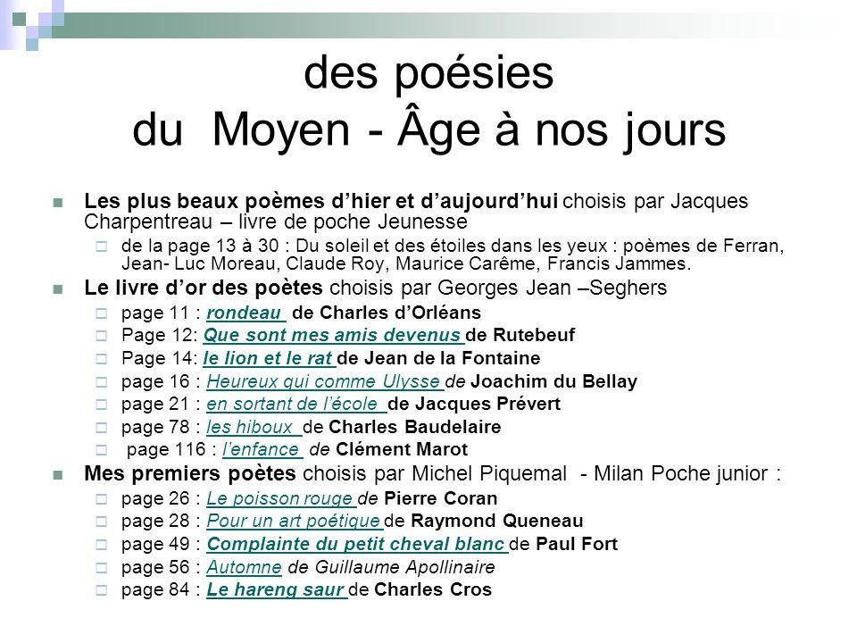 des poésies du Moyen - Âge à nos jours Les plus beaux poèmes dhier et daujourdhui choisis par Jacques Charpentreau – livre de poche Jeunesse de la pag