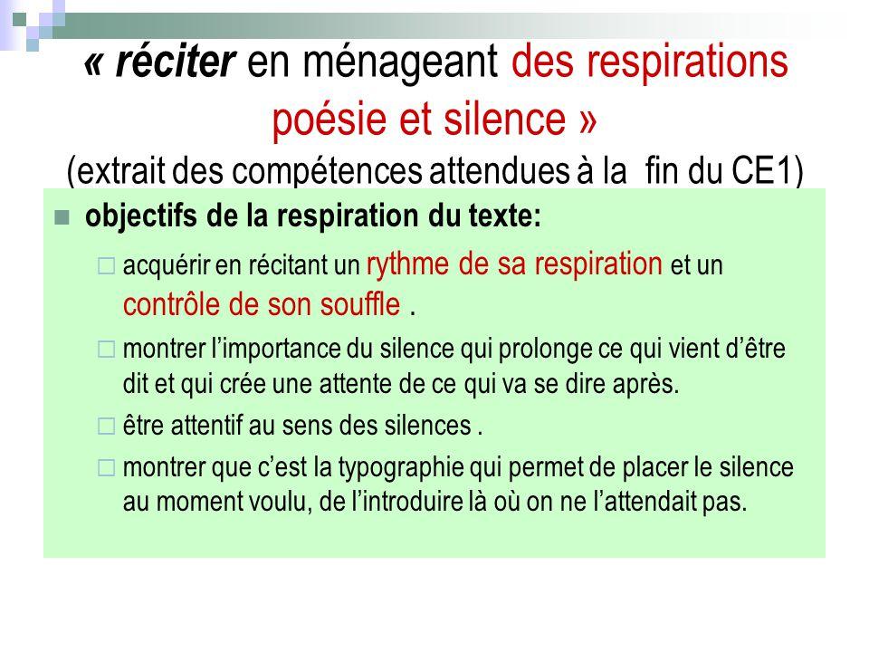 « réciter en ménageant des respirations poésie et silence » (extrait des compétences attendues à la fin du CE1) objectifs de la respiration du texte: acquérir en récitant un rythme de sa respiration et un contrôle de son souffle.