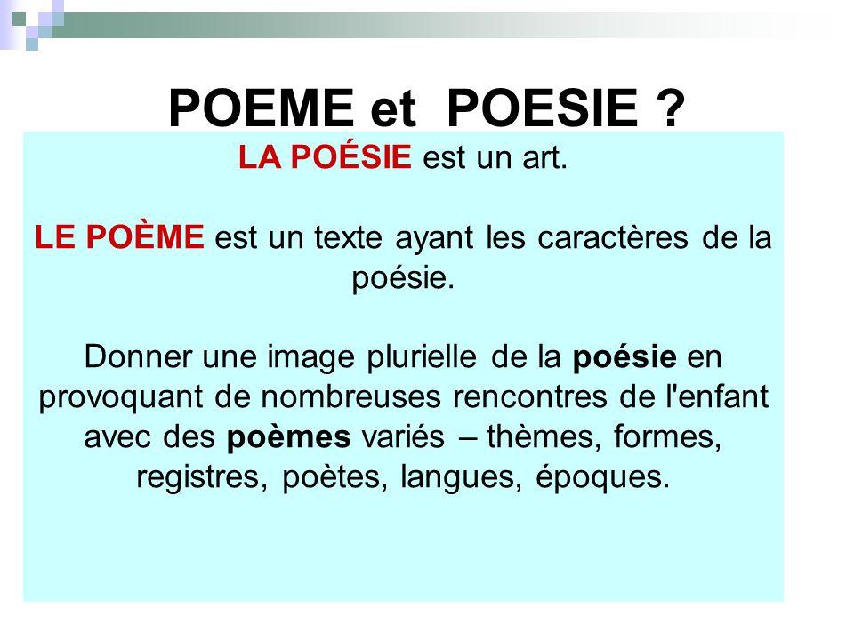 LA POÉSIE est un art. LE POÈME est un texte ayant les caractères de la poésie. Donner une image plurielle de la poésie en provoquant de nombreuses ren