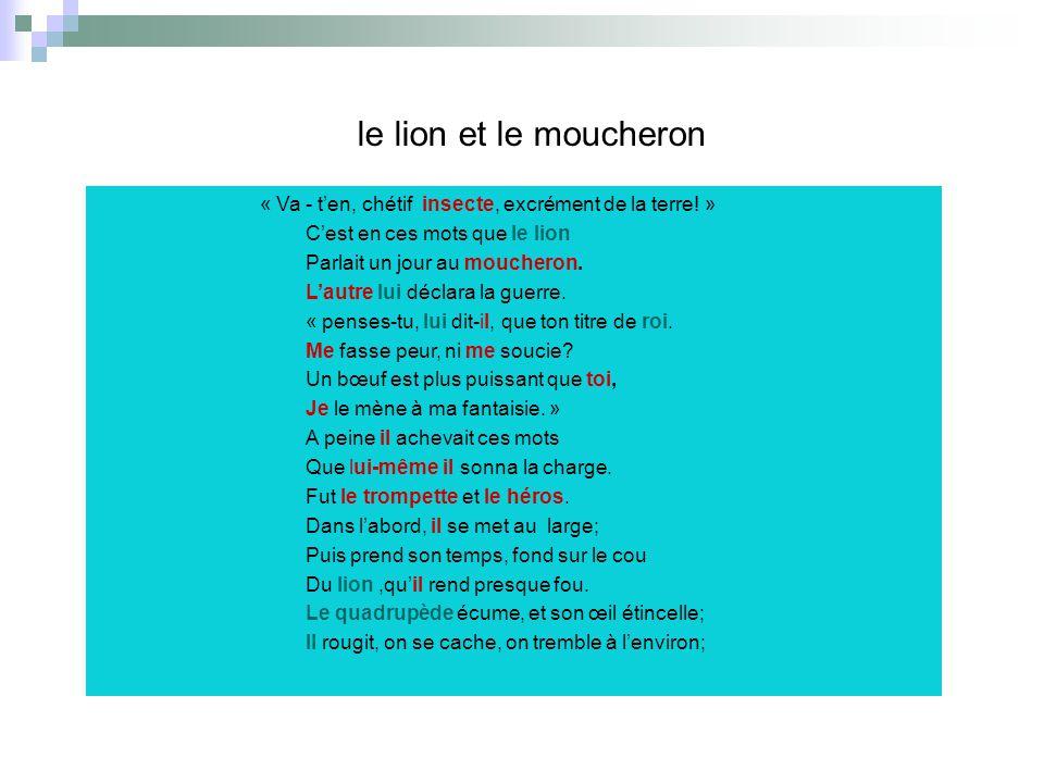 le lion et le moucheron « Va - ten, chétif insecte, excrément de la terre! » Cest en ces mots que le lion Parlait un jour au moucheron. Lautre lui déc