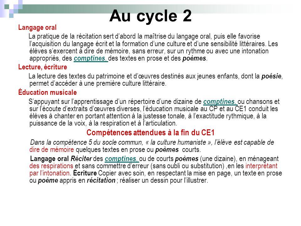 Au cycle 2 Langage oral La pratique de la récitation sert dabord la maîtrise du langage oral, puis elle favorise lacquisition du langage écrit et la f