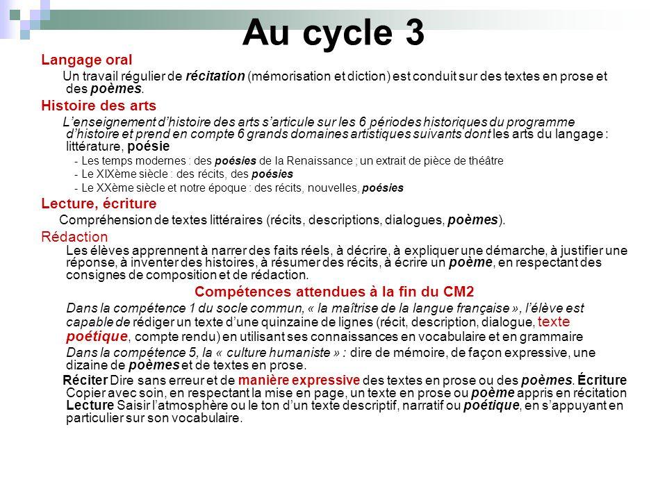 Au cycle 3 Langage oral Un travail régulier de récitation (mémorisation et diction) est conduit sur des textes en prose et des poèmes. Histoire des ar