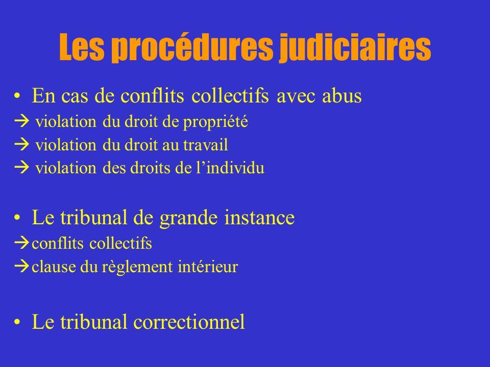 Les procédures judiciaires En cas de conflits collectifs avec abus violation du droit de propriété violation du droit au travail violation des droits