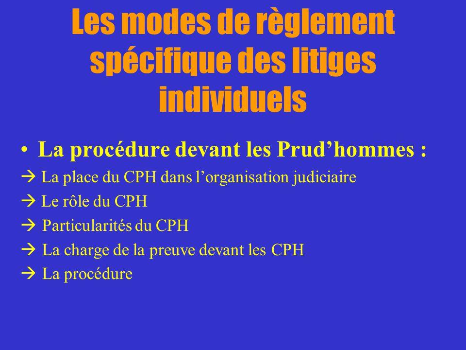 Les modes de règlement spécifique des litiges individuels La procédure devant les Prudhommes : La place du CPH dans lorganisation judiciaire Le rôle d