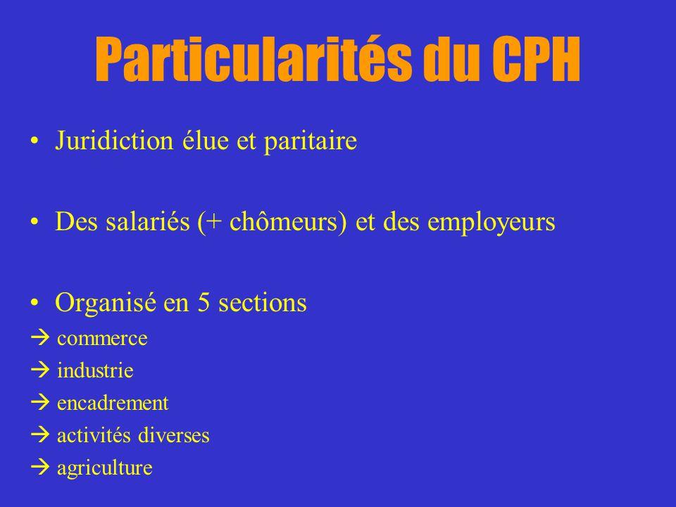 Particularités du CPH Juridiction élue et paritaire Des salariés (+ chômeurs) et des employeurs Organisé en 5 sections commerce industrie encadrement