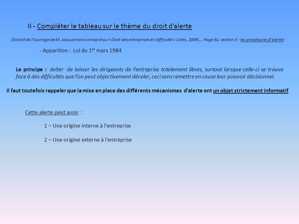 II - Compléter le tableau sur le thème du droit dalerte (Extrait de louvrage de M.
