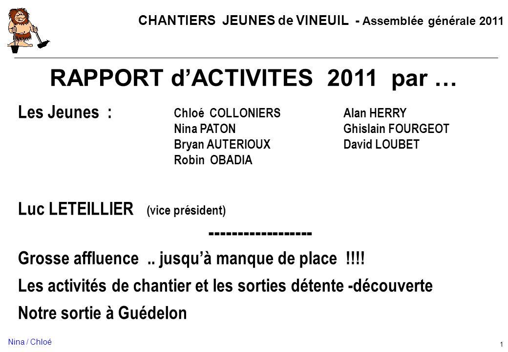 CHANTIERS JEUNES de VINEUIL - Assemblée générale 2011 1 RAPPORT dACTIVITES 2011 par … Les Jeunes : Luc LETEILLIER (vice président) ------------------ Grosse affluence..