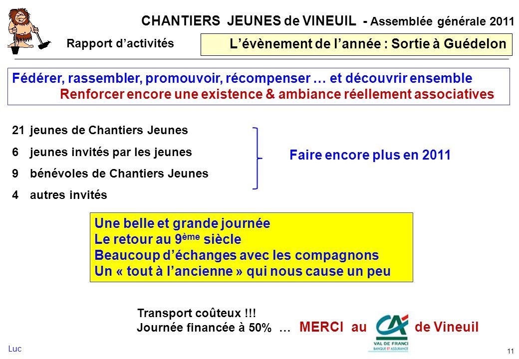 CHANTIERS JEUNES de VINEUIL - Assemblée générale 2011 Lévènement de lannée : Sortie à Guédelon 11 Fédérer, rassembler, promouvoir, récompenser … et dé