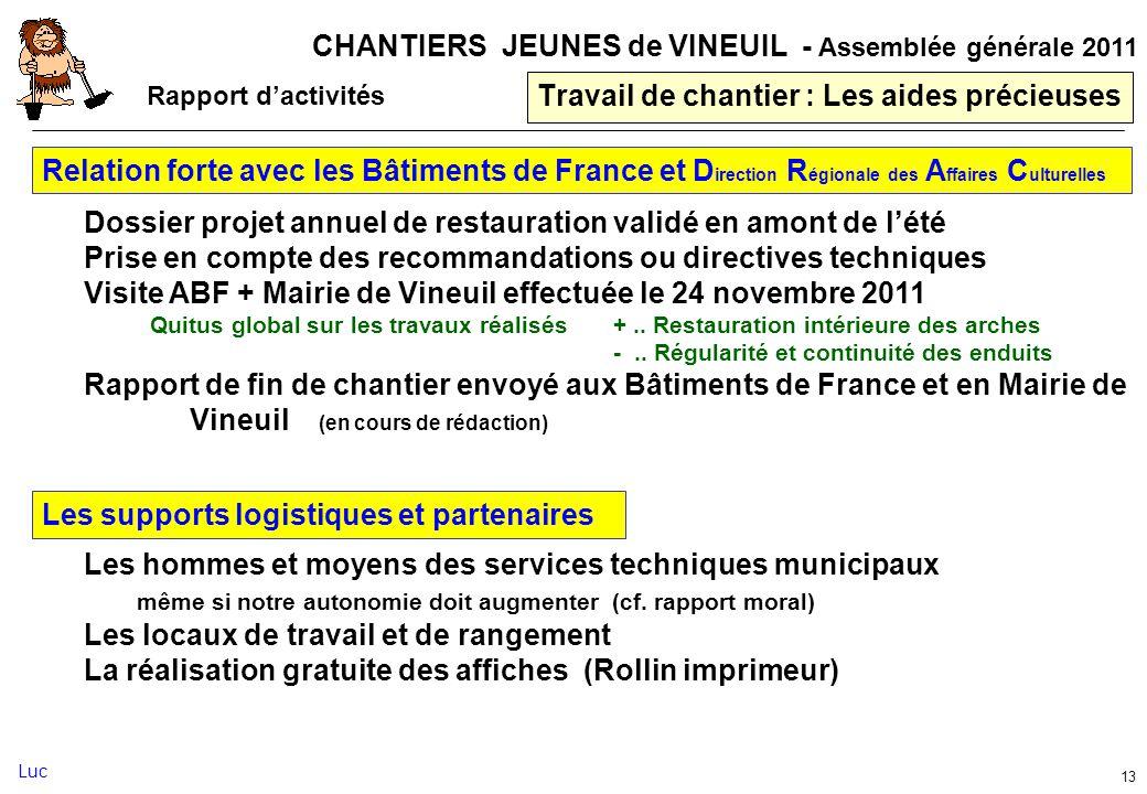 CHANTIERS JEUNES de VINEUIL - Assemblée générale 2011 13 Travail de chantier : Les aides précieuses Relation forte avec les Bâtiments de France et D i