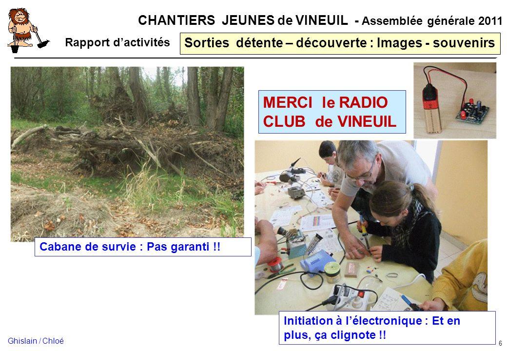 CHANTIERS JEUNES de VINEUIL - Assemblée générale 2011 Sorties détente – découverte : Images - souvenirs 6 Rapport dactivités Cabane de survie : Pas ga