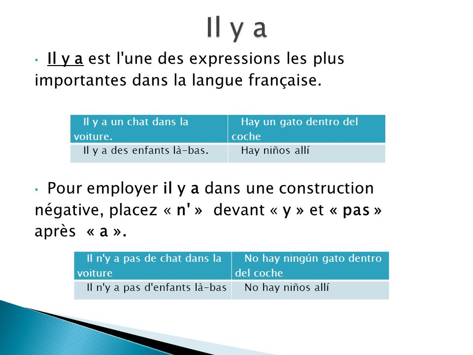Il y a est l'une des expressions les plus importantes dans la langue française. Pour employer il y a dans une construction négative, placez « n' » dev